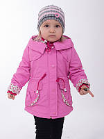 Детская куртка (плащ) для девочки весенняя на флисовой подкладке  (утеплитель синтепон)
