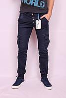 Мужские молодежные джинсы на манжете с накладными карманами, фото 1