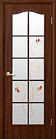 Дверь ФОРТИС, ПВХ ольха, орех премиум (стекло витраж с рис. Р1) тип3