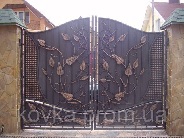 Кованые распашные ворота, код: 01042