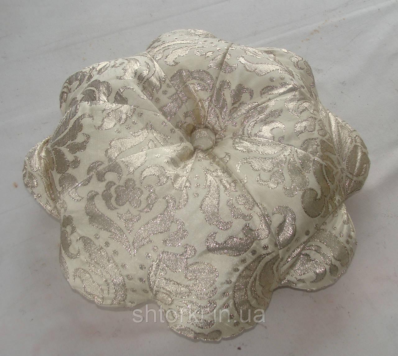 Подушка Цветок беж с парчой