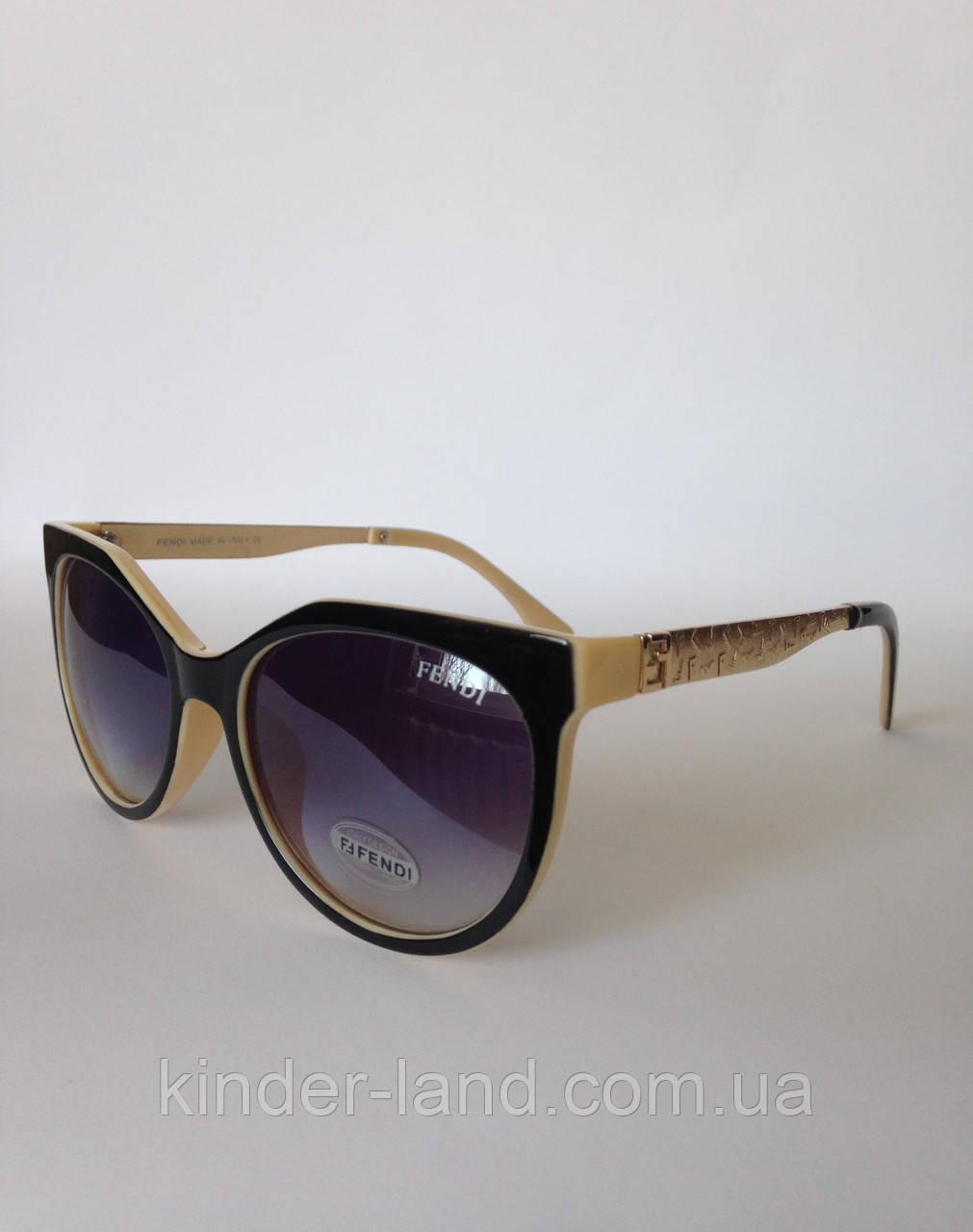 ec500c31da8e Женские солнцезащитные очки Fendi 324 черно - бежевые - Интернет-магазин