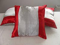 Комплект подушек  красные с серым, 3шт