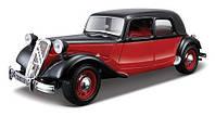 Автомодель CITROEN 15 CV TA (1938) Bburago черный, красно-черный, 1:24 (18-22017)