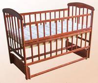 Детская кроватка Наталка с маятником и откидной боковушкой темная 62032 *бр