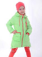 Детская весенняя куртка для девочки удлиненная на синтепоне