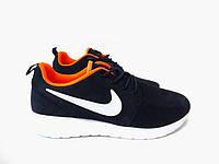 Женские кроссовки Nike Roshe Run, голубые с оранжевым, фото 1