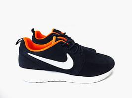 Женские кроссовки Nike Roshe Run, голубые с оранжевым