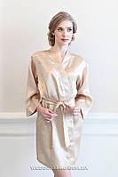 """Халатик невесты с надписью """"Bride""""  из страз, золото"""