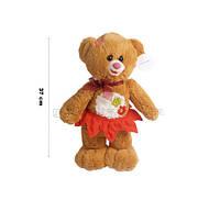 Медведь рыжий в комбезе/в юбке стоящий 37 см