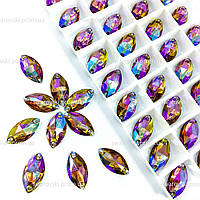 Пришивные лодочки (синтетич.стекло).   Цвет Topaz AB 9x18*1шт