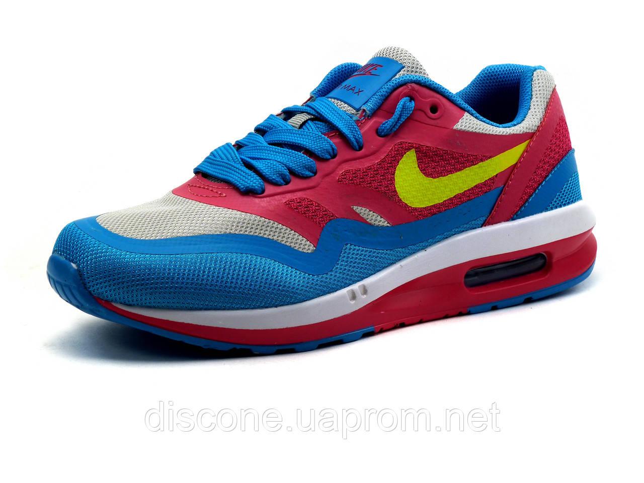 Женские кроссовки Найк Air Max, подростковые, светло серые с розовым и голубым, р. 36 37 38