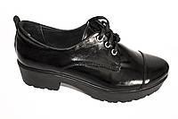 Туфли из натуральной лаковой кожи с отрезным носком, фото 1