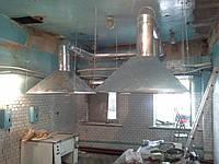 Система вытяжной вентиляции, вытяжные зонты в производственной столовой