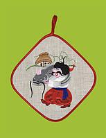 Прихватка квадратная, сувенир с вышивкой аппликацией, натуральный лен