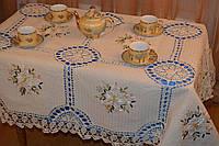 Скатерть льняная с вышивкой и кружевом - Код 119-1-1