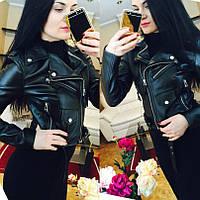 Женская куртка из кожзама черная ММ-07