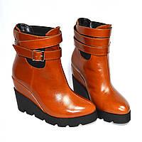 Стильные кожаные рыжие ботинки на платформе. Демисезон, фото 1