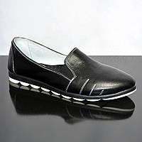Туфли женские из натуральной кожи черного цвета на плоской подошве, фото 1