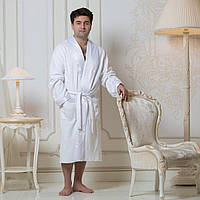 Мужской махровый халат Guddini с атласным воротником белый L (52-52)