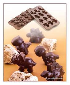 """Форма для шоколада """"Динозаврики"""" 40*33 мм h 16 мм Silikomart"""