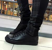 Кеды черные на шнурках из натуральной кожи