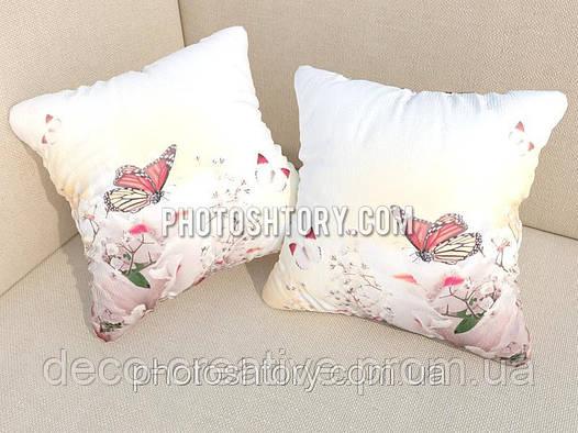 Подушка с фотопечатью бабочки