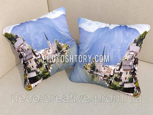 Подушки с фото городок в горах