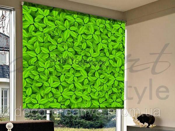 Рулонные шторы на проем зеленая листва