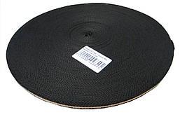 Тесьма 10мм/50м бежевая полоса на черном