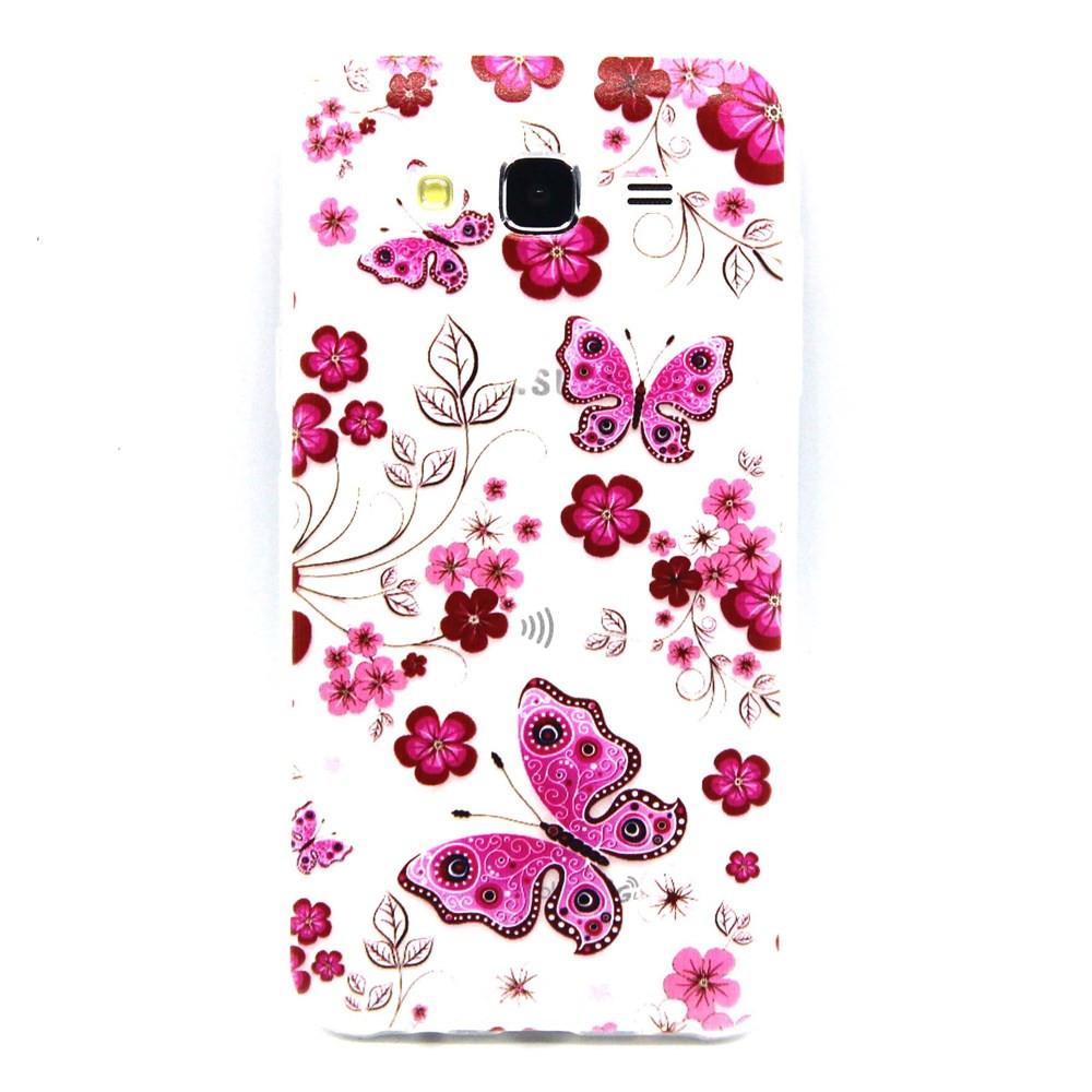 Чехол на Samsung Galaxy J5 J500H накладка силиконовый фактурный, Бабочки и цветы