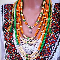 П'ятирядне кольорове намисто з тризубом