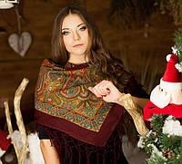 Українська жіноча хустка з бахромою (90х90см,бордовий, 100%-акрил)