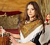 Женская хустка с орнаментом и бахромой (90х90см, белый, 100%-акрил)