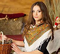 Женская хустка с орнаментом и бахромой (90х90см, белый, 100%-акрил), фото 1