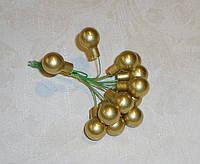 Новогодние стеклянные шарики 1,5 смна проволоке 4 шт золотые полуматовые