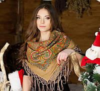 Украинская палантина с бахрамой для женщин (100х100см, кофейный, 100%-акрил)