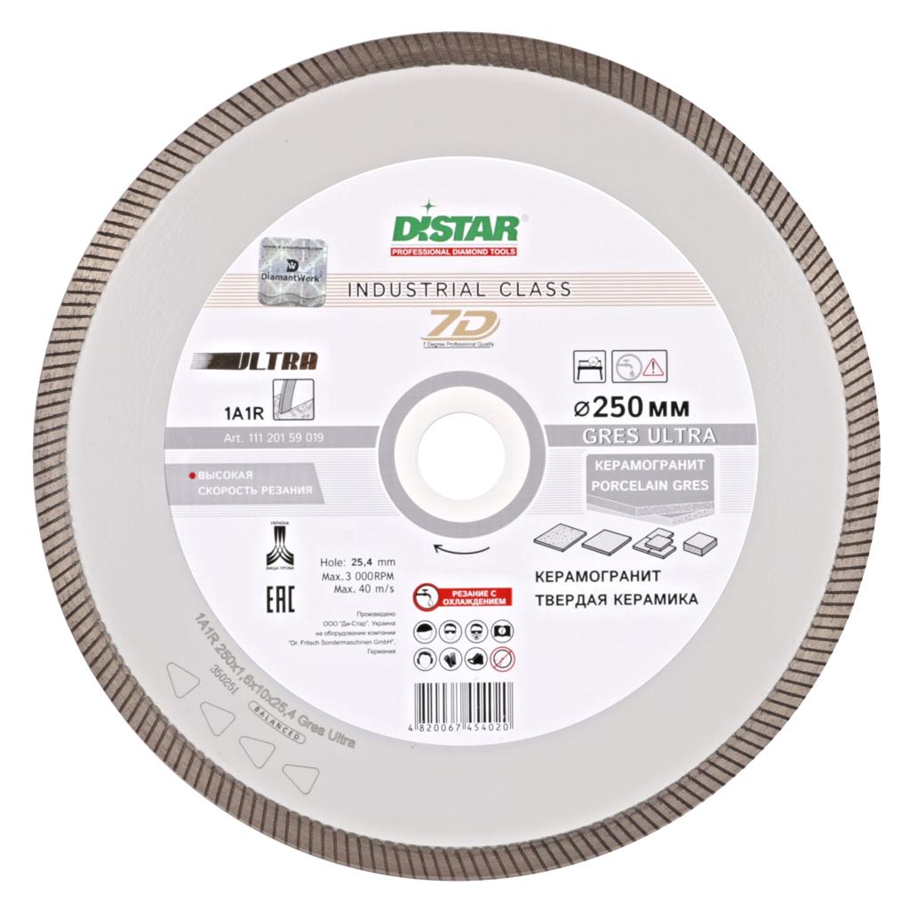 Алмазный отрезной круг Distar 1A1R 250x1,6/1,2x10x25,4 Gres Ultra