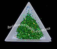 Чешуя для дизайна ногтей зеленая голографическая, фото 1