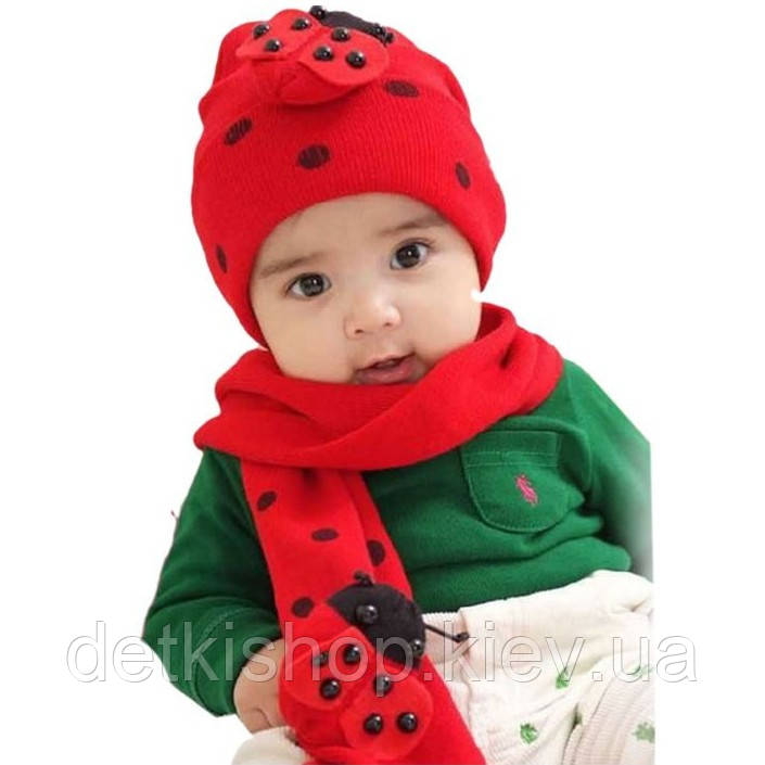 Набор шапочка и шарф «Божья коровка»