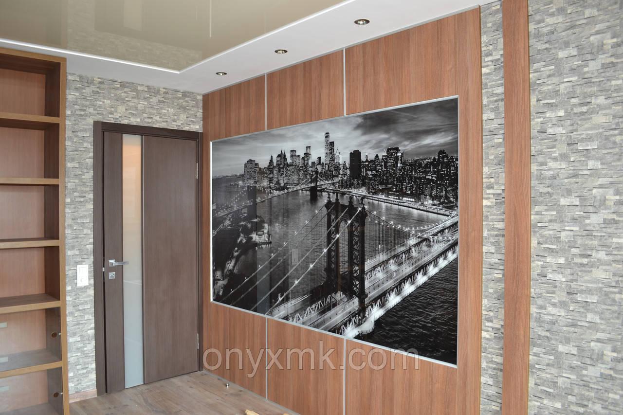 Декоративная отделка стен ЛДСП и печать на стекле