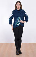 Элегантное вышитое пальто темно-синего цвета