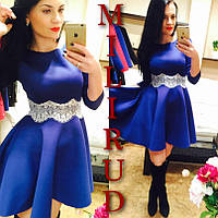 """Женское платье """"Belt"""" синее с белым ММ-43"""