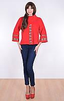 Красное кашемировое пальто- жакет