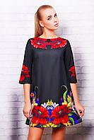 Женское черное платье в цветах  маки свободный крой