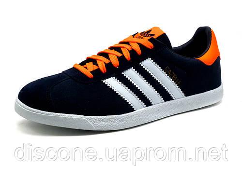 Кроссовки мужские Adidas Gazelle, темно-синие с белым и оранжевым