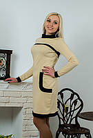 Платье трикотажное бежевое, фото 1