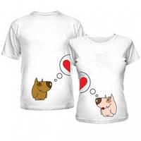 Футболки для влюбленных с собачками, парные футболки принт Собачки