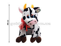 Корова сидит с красным бантом на шее 28см (мычит