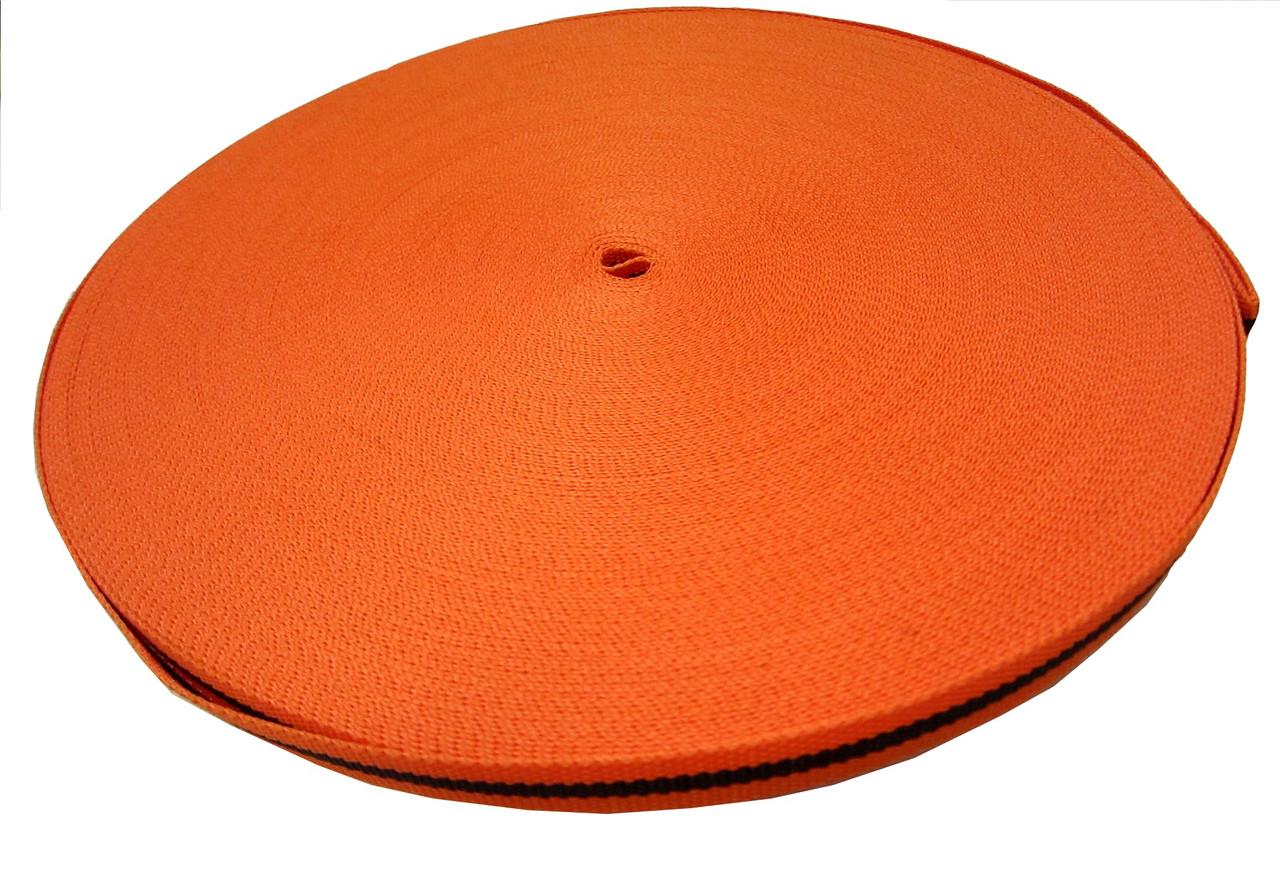Тесьма 10мм/50м черная полоса на оранжевом